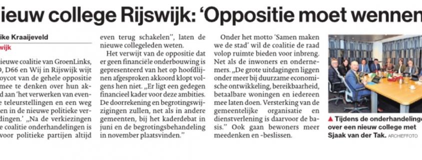 Artikel AD: College Rijswijk: 'Oppositie moet wennen'
